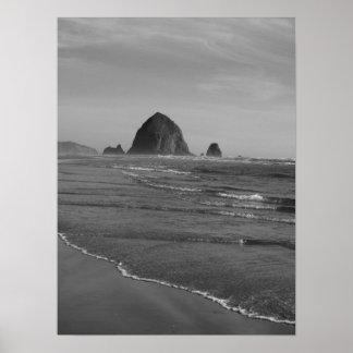 Black and White Oregon Beach Print
