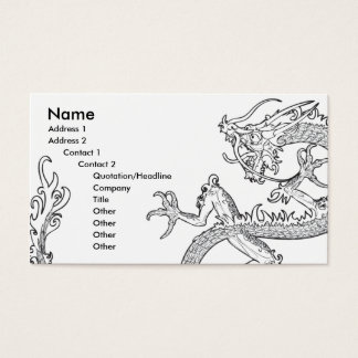 black and white oriental dragon business card