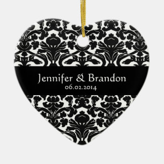 Black and White Ornate Damask Wedding Ornament