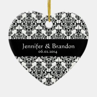 Black and White Ornate Damask Wedding Thank You Ceramic Heart Decoration