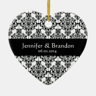 Black and White Ornate Damask Wedding Thank You Christmas Ornament