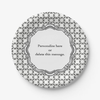 Black and White Ornate Elegance Table Numbers Paper Plate