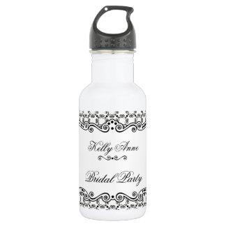 Black and White Ornate Elegance Water Bottle