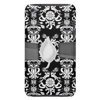 black and white ornate funky damask Case-Mate iPod touch case