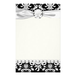 black and white ornate funky damask stationery