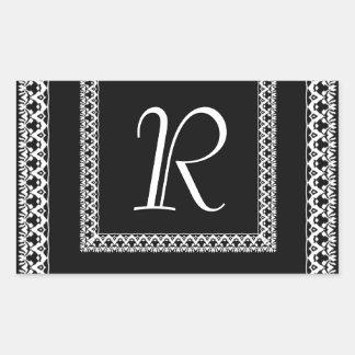 Black and White Ornate Lace Monogram Any Letter V3 Rectangular Sticker
