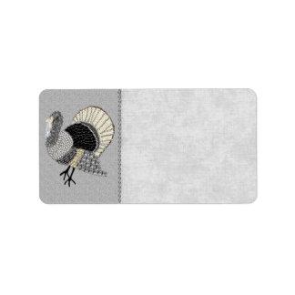 Black and White Ornate Thanksgiving Turkey Address Label