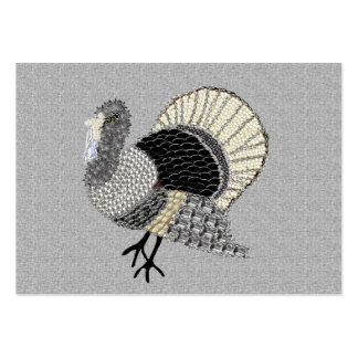 Black and White Ornate Thanksgiving Turkey Pack Of Chubby Business Cards