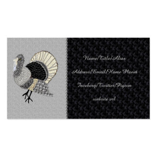 Black and White Ornate Thanksgiving Turkey Pack Of Standard Business Cards