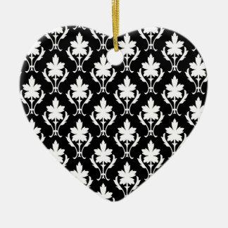 Black And White Ornate Wallpaper Pattern Ceramic Heart Decoration