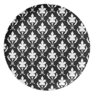 Black And White Ornate Wallpaper Pattern Party Plates