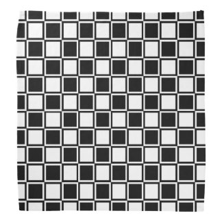 Black and White Outlined Squares Bandana