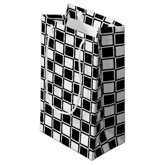 Black and White Outlined Squares Small Gift Bag