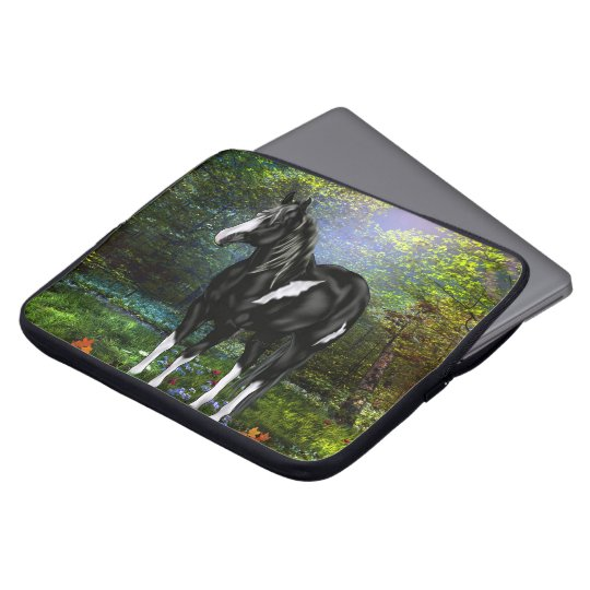 Black and White Overo Paint Horse Laptop Sleeve