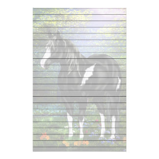 Black and White Overo Paint Horse Print Stationery