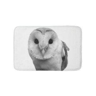 Black and white owl animal peekaboo photo bath mat