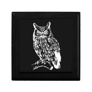 Black and White Owl Design Gift Box