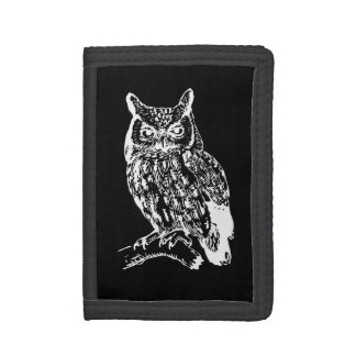 Black and White Owl Design Trifold Wallet