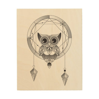 Black and white owl in dreamcatcher wood art