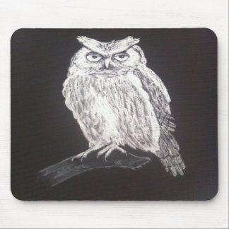 Black and white owl mousepad