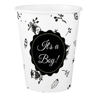 Black and White Owl Themed Baby Shower Paper Cups