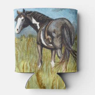 Black and White Paint Horse Watercolor Art Can Cooler