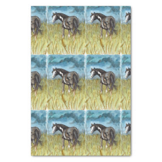 Black and White Paint Horse Watercolor Art Tissue Paper