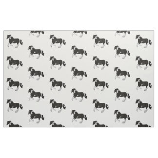 Black and White Paint Pinto Gypsy Vanner Horse Fabric