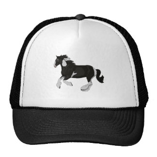 Black and White Paint Pinto Gypsy Vanner Horse Trucker Hats