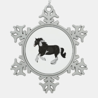 Black and White Paint Pinto Gypsy Vanner Horse Snowflake Pewter Christmas Ornament