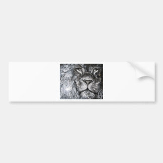 Black and white painting of a lion in nature bumper sticker