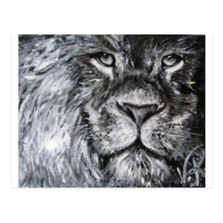 Black and white painting of a lion in nature post cards