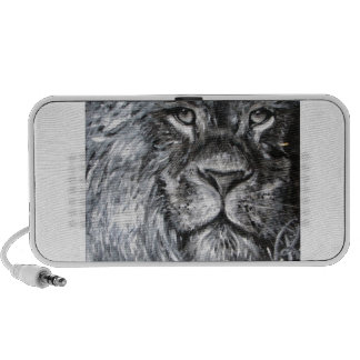 Black and white painting of a lion in nature travel speaker