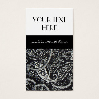 Black and White Paisley Business Card