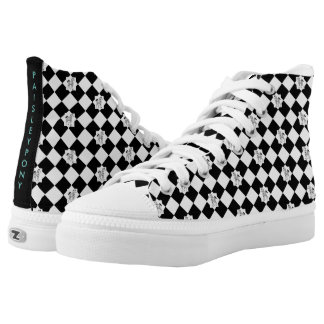 Black and White Paisley High Tops