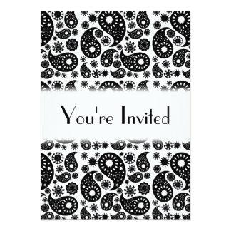 Black and White Paisley. 13 Cm X 18 Cm Invitation Card