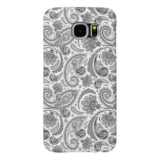 Black And White Paisley Lace Retro Pattern Samsung Galaxy S6 Cases
