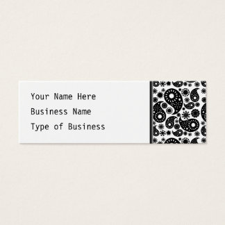 Black and White Paisley. Mini Business Card