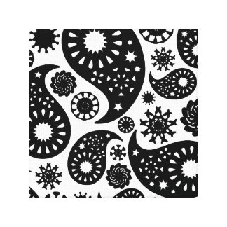 Black and White Paisley Pattern. Canvas Print