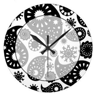 Black and White Paisley Pattern. Large Clock