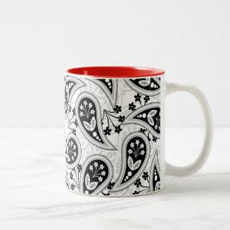 Black and White Paisley Pattern Coffee Mugs