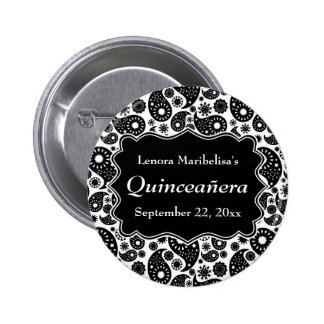 Black and White Paisley Quinceanera Button