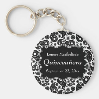 Black and White Paisley Quinceanera Keychain