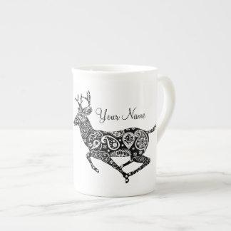 Black and White Paisley Reindeer Bone China Mug