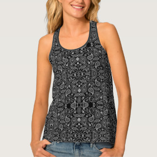 Black And White Paisley Retro Pattern Tank Top