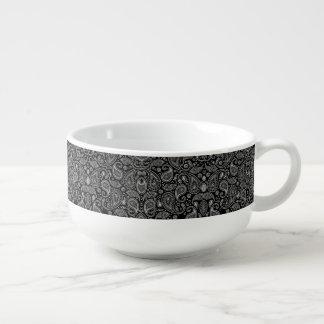 Black And White Paisley Soup Mug