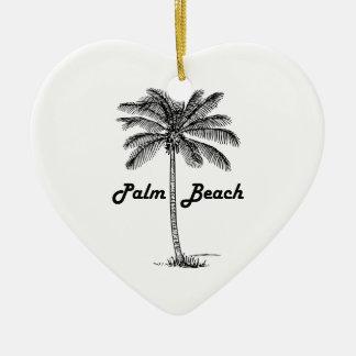 Black and white Palm Beach Florida & Palm design Ceramic Heart Decoration
