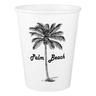 Black and white Palm Beach Florida & Palm design Paper Cup