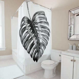 Black and white palm monstera leaf tropical shower curtain