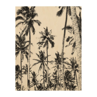 Black and white palm tree tropical photo wood wall decor
